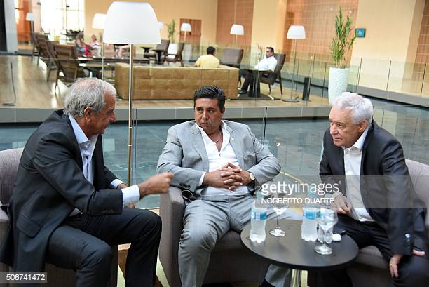 River Plate of Argentina's president Rodolfo D'Nofrio Argentine Boca Juniors president Daniel Angelici and Victor Blanco president of also Argentine...