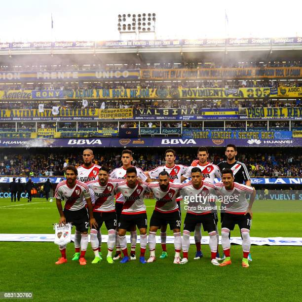 River Plate pose for a team photograph ahead of the Torneo Primera Division match between Boca Juniors and River Plate at Estadio Alberto J Armando...