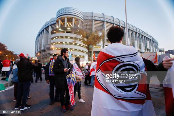 River Plate supporters are seen before the second football match between River Plate and Boca Juniors during the Finals of the Copa CONMEBOL...