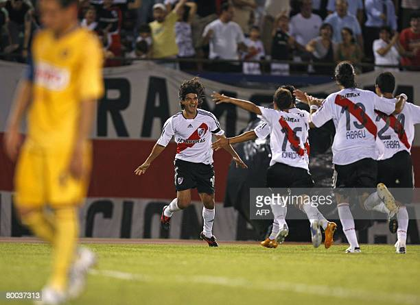 River Plate's Ariel Ortega celebrates after scoring a goal against Mexico's America during their Libertadores Cup 2008 football match in Buenos Aires...