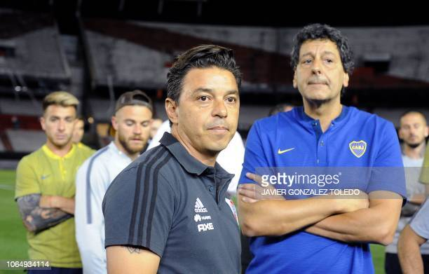River Plate's coach Marcelo Gallardo looks on on the field of the Monumental stadium in Buenos Aires after authorities postponed the allArgentine...