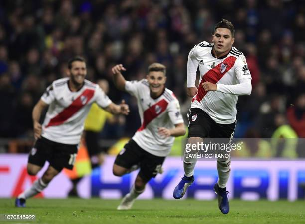TOPSHOT River Plate's Colombian Juan Fernando Quintero celebrates after scoring against Boca Juniors during the second leg match of the allArgentine...