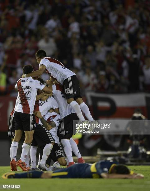 River Plate's footbaleers celebrate the goal of Leonardo Ponzio against Boca Juniors during the Argentine derby match in the Superliga first division...