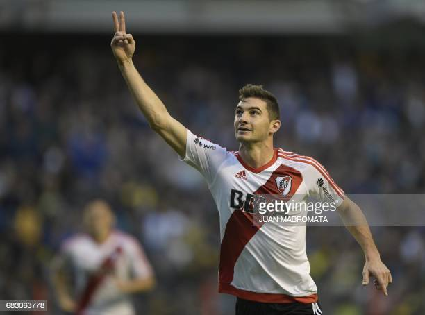 River Plate's forward Lucas Alario celebrates after scoring the team's second goal against Boca Juniors during their Argentina first division...