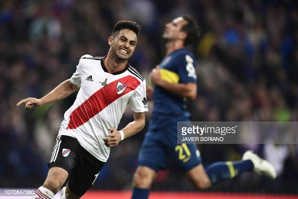 River Plate's Gonzalo Martinez celebrates after scoring against Boca Juniors during the second leg match of the allArgentine Copa Libertadores final...