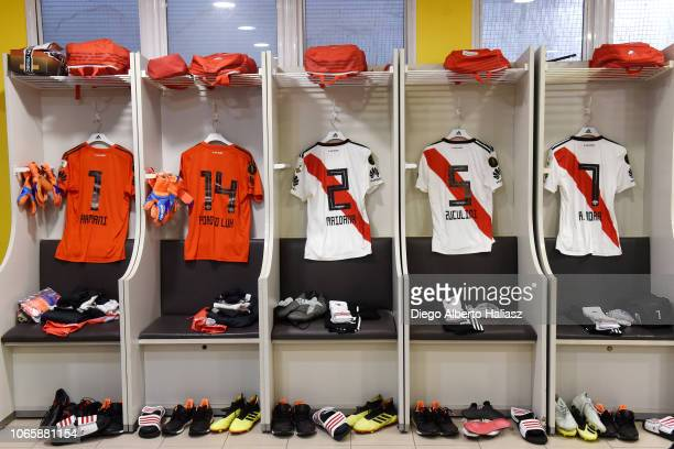 River Plate's jerseys are seen in the away dressing room before the first leg match between Boca Juniors and River Plate as part of the Finals of...