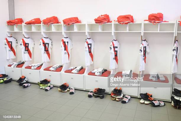 River Plate's jerseys in the visitor's dressing room before a Quarter Final first leg match between Independiente and River Plate at Libertadores de...