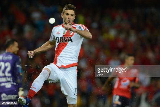 River Plate's Lucas Alario celebrates with teammates after scoring against Independiente Medellin during their Copa Libertadores 2017 football match...