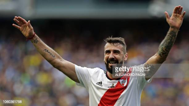 River Plate's Lucas Pratto celebrates after scoring against Boca Juniors during their first leg match of the allArgentine Copa Libertadores final at...