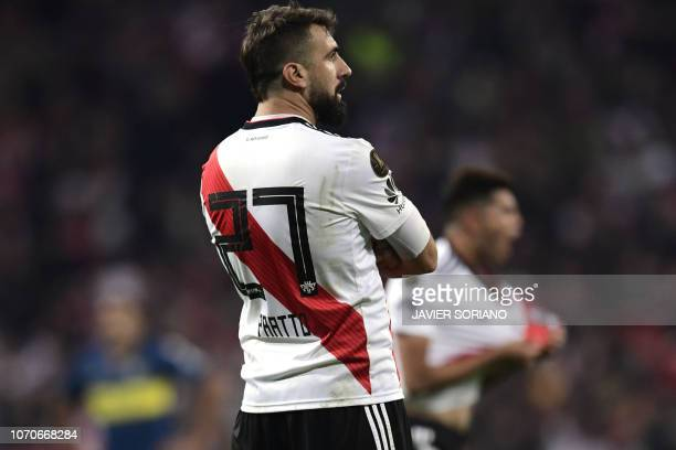 River Plate's Lucas Pratto celebrates after scoring against Boca Juniors during the second leg match of the allArgentine Copa Libertadores final at...