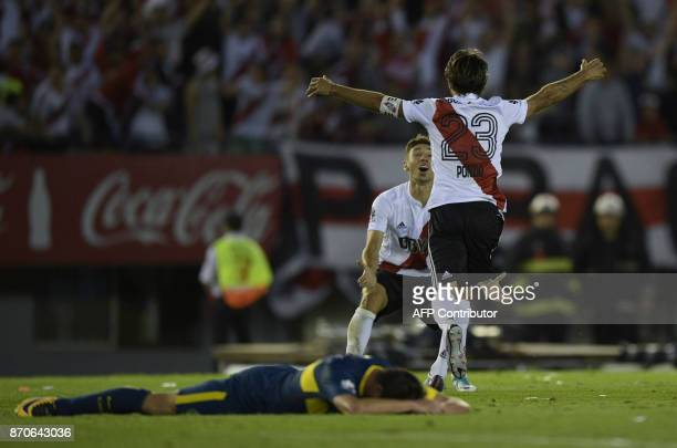 River Plate's midfielder Leonardo Ponzio celebrates after scoring against Boca Juniors during the Argentine derby match in the Superliga first...