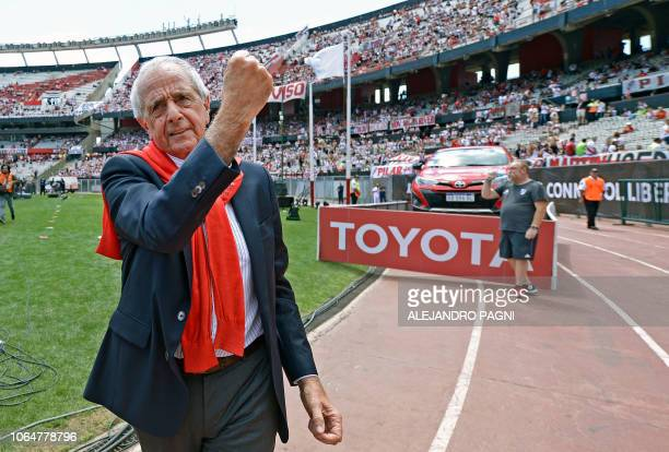 River Plate's president Rodolfo D'Onofrio waves to supporters before the allArgentine Copa Libertadores final match against Boca Juniors at the...
