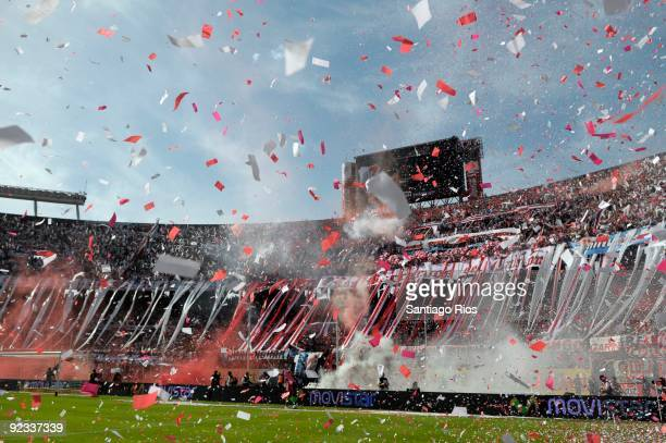 River Plate´s supporters cheer their team during the Argentinean Championship Primera A match against Boca Juniors on October 25 2009 in Buenos Aires...
