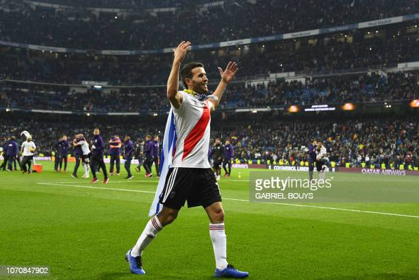 River Plate's Uruguayan Camilo Mayada celebrates after winning the second leg match of the allArgentine Copa Libertadores final against Boca Juniors...