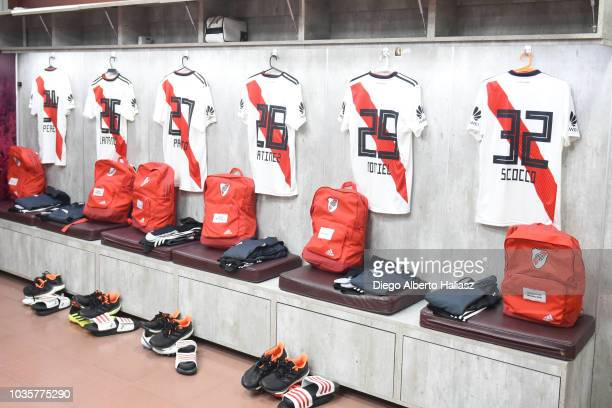 River Plates's jerseys in the visitor's dressing room before a round of 16 match between River Plate and Platense as part of Copa Argentina 2018 at...