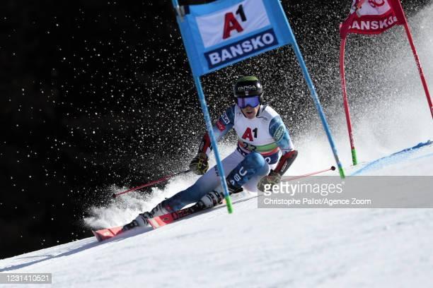 River Radamus of USA in action during the Audi FIS Alpine Ski World Cup Men's Giant Slalom on February 27, 2021 in Bansko Bulgaria.