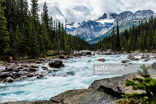 river rapids flowing near mountain - river stock pictures, royalty-free photos & images