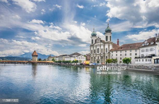 river reuss with view lucerne jesuit