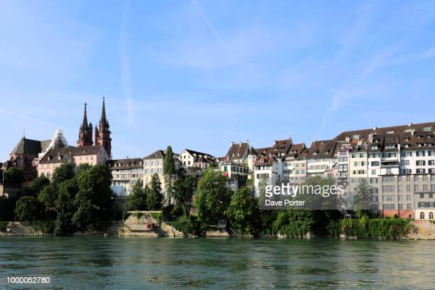 river rhine embankment, city of basel, canton basel stadt, switz - stadt stock pictures, royalty-free photos & images