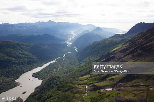 a river running through a valley in the kenai mountains, kachemak bay state park - kenai mountains stock pictures, royalty-free photos & images