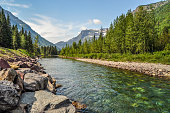 A River Runs Through Glacier National Park in Montana