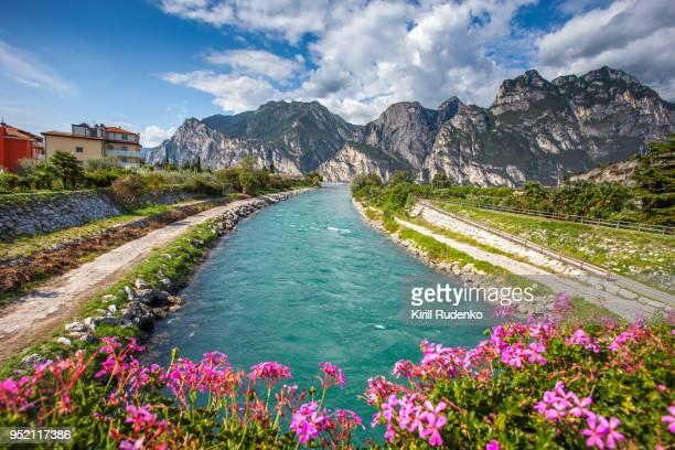 river sarca and lake garda, torbole, italy - トレンティーノ ストックフォトと画像