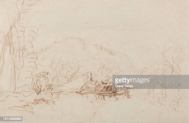 River Scene, David Cox, 1783–1859, British, between 1840 and 1849, Brown crayon on thick, smooth, beige wove paper, Sheet: 6 1/2 x 9 7/8 inches ,...