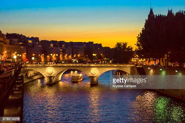 River Seine and Pont au Change at Twilight