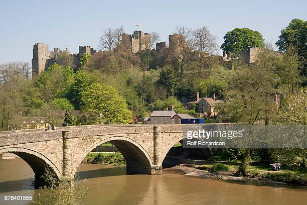 river severn and ludlow castle, shropshire, england, united kingdom, europe - ludlow shropshire stock photos and pictures