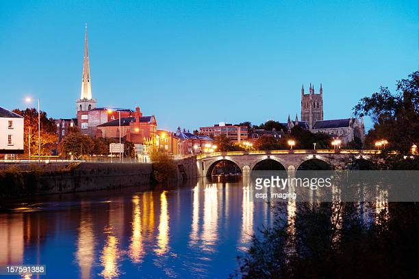 river severn view  and cathedral at worcester - worcestershire stock photos and pictures