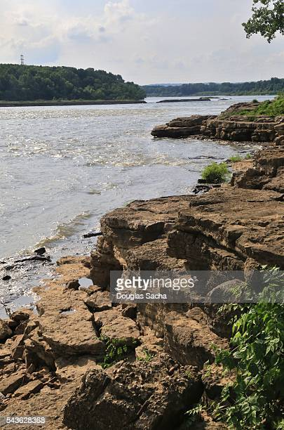 River shoreline, at the Falls of the Ohio State Park, Clarksville, Indiana, USA