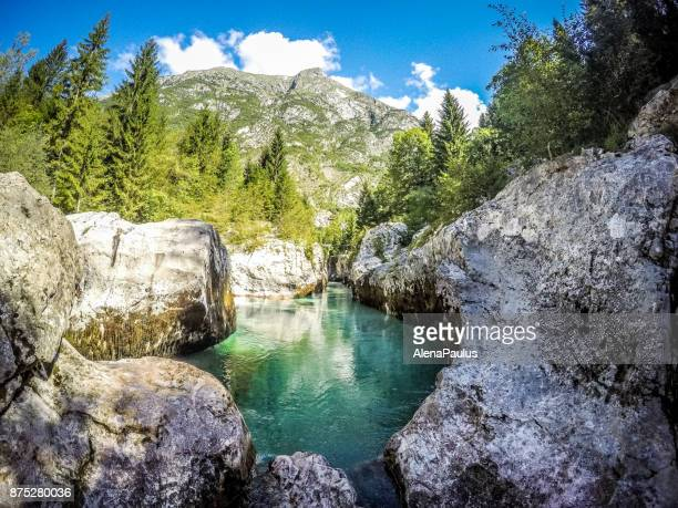 river soca - emerald green stock pictures, royalty-free photos & images