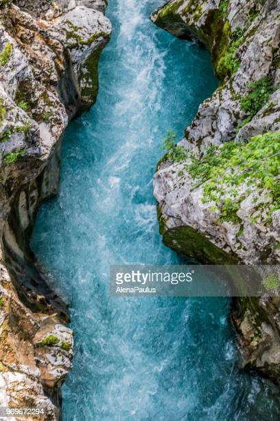 river soca - spring flowing water stock pictures, royalty-free photos & images