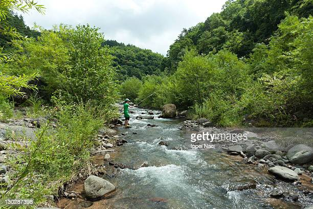 River stream fishing, Nagano, Japan