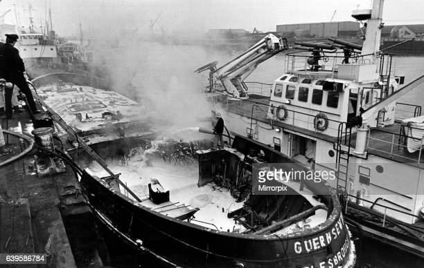 River Tees fireboat at scene of tugboat fire Middlesbrough Wharf 28th April 1980