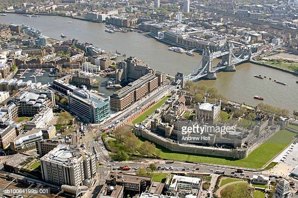 river thames and cityscape, aerial view - tower of london stock pictures, royalty-free photos & images