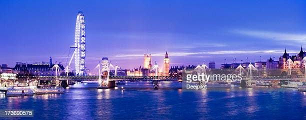 River Thames and London City Skyline UK