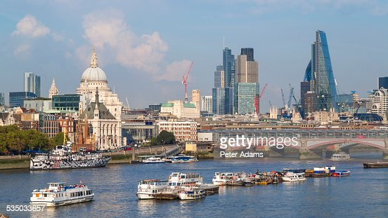 River Thames And London Skyline England Stock Photo