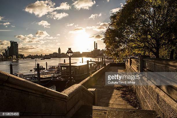 River Thames at sunset, Chelsea Embankment, London