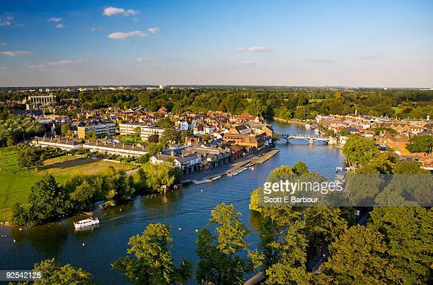 river thames, eton on left bank, windsor on right - windsor england stock pictures, royalty-free photos & images