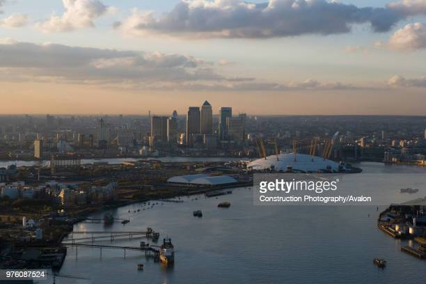 River Thames Greenwich London UK aerial view