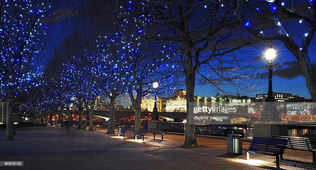 Christmas Themes.River Themes Walk In London At Dusk At Christmas High Res
