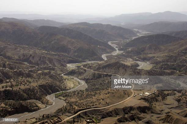 A river valley cuts through the rugged terrain near Wana April 11 2007 in Pakistan's South Waziristan tribal area near the Afghan border The...