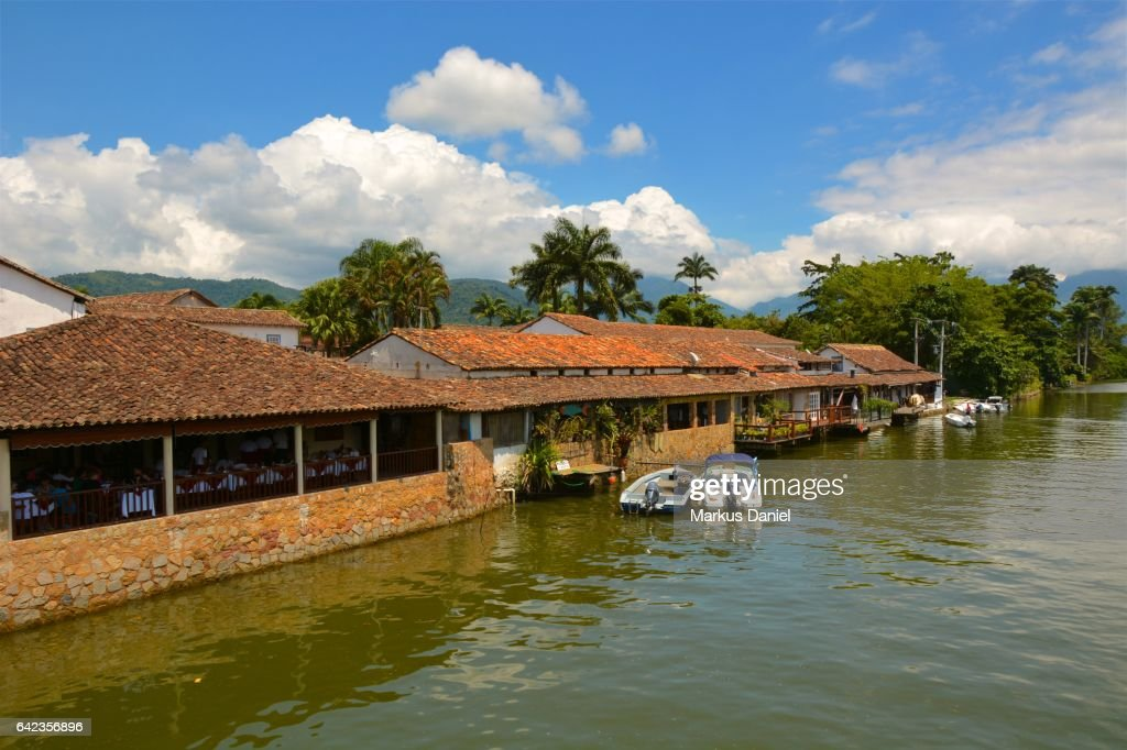 River view in the town of Paraty, Rio de Janeiro : Stock Photo