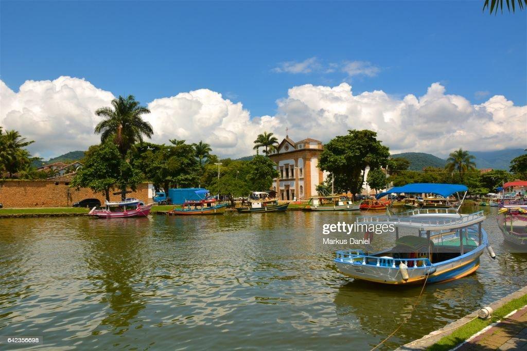 River view of Town of Paraty, Rio de Janeiro : Stock Photo