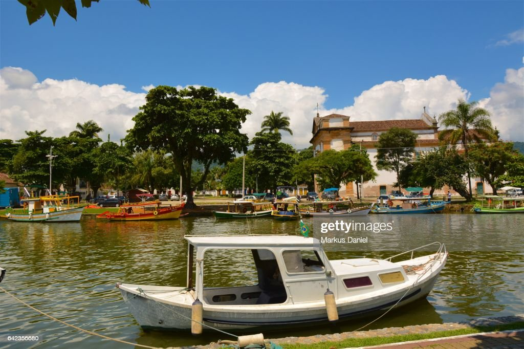 River view with boats in Town of Paraty, Rio de Janeiro : Stock Photo