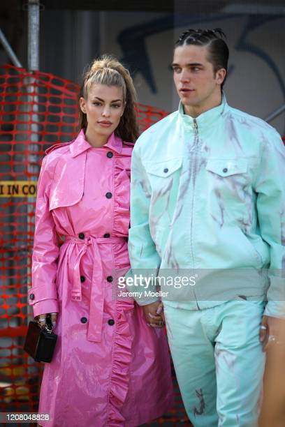 River Viiperi and Jessica Goicoechea are seen before MSGM during Milan Fashion Week Fall/Winter 2020-2021 on February 22, 2020 in Milan, Italy.