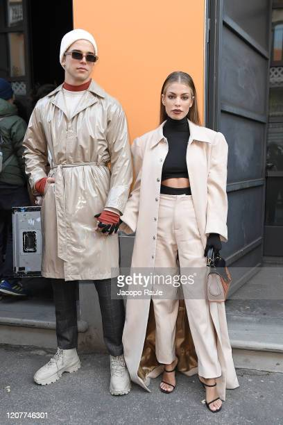 River Viiperi and Jessica Goicoechea attend the Tod's show at Milan Fashion Week Autumn/Winter 2020/21 on February 21, 2020 in Milan, Italy.
