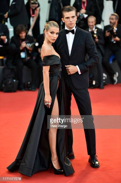 "River Viiperi and Jessica Goicoechea walk the red carpet ahead of the ""J'Accuse"" screening during the 76th Venice Film Festival at Sala Grande on..."