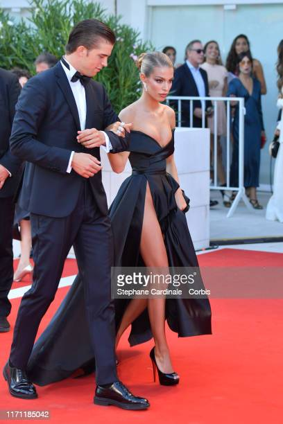 River Viiperi and Jessica Goicoechea walk the red carpet ahead of the J'Accuse screening during the 76th Venice Film Festival at Sala Grande on...